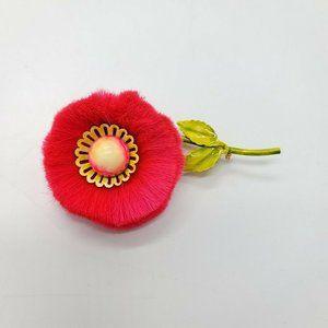 Hattie Carnegie Dynel Flower Power Puff Pink Pin